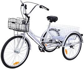 negro-2 Ridgeyard triciclo adulto 24 6 velocidades bicicleta 3 ruedas adulto con Cesta de la compra